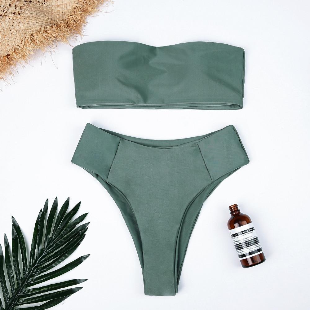 2018 High Waist Swimsuit Sexy Bikini Set Pure Color Bathing Suits Swimwear Two Piece Off-Shoulder Bikinis Women Push Up Swimwear