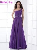 Purple Chiffon A line Long Bridesmaid Dresses 2017 one Shoulder Formal Women Wedding Party Dress Bridesmaid Robes Custom Made
