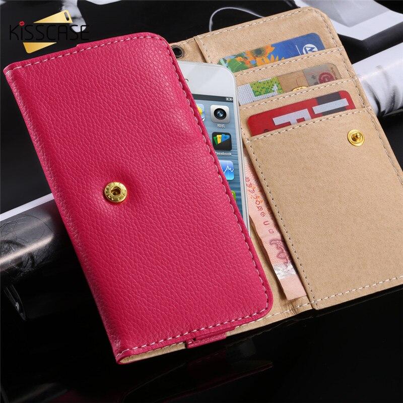 KISSCASE Universal PU Leather Wallet Case For Huawei P8 P9 Lite Xiaomi Redmi Note 3 4 Pro 3 Mi 4 5 iPhone 6 6s 7 Plus Samsung S7