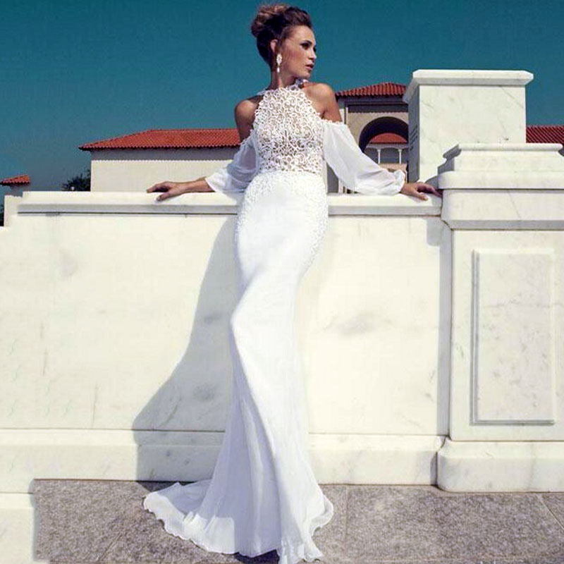 Glamorous Off Shoulder White Lace Long Puffy Sleeves Evening Dresses ...
