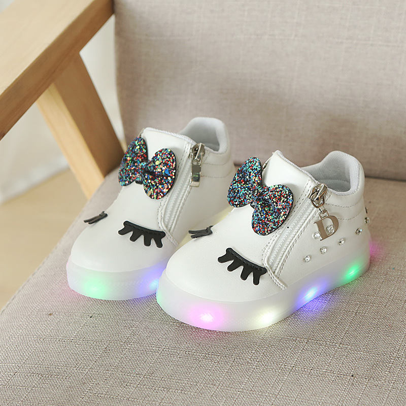 Buy Cheap 2018 New Children Fashion Boots Bowknot Baby Girls Princess Boots Led Lights Glowing Sports Shoes Non-slip Soft Newborn Toddler Profit Small Children's Shoes Boots