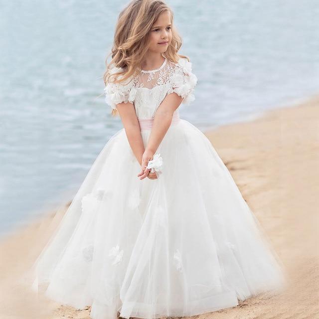 Vintage Prinzessin Blumenspitze 2017 Lange Blume Madchen Kleider