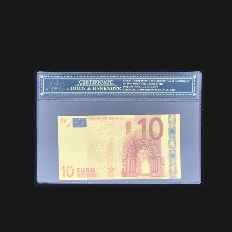 Notas de Ouro de alta Qualidade Para A Cor Das Notas de 10 Euros em Banhado A Ouro Com COA Quadro Para Vendas Quentes e Coleção