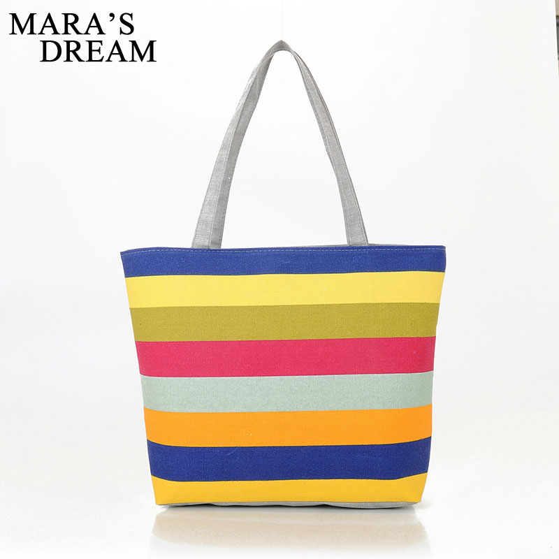 Mara's Dream Canvas Shopper Bag Striped Rainbow Beach Bags Tote Women Ladies Girls Shoulder bag Casual Shopping Handbag Bolsa ocardian canvas shopper shoulder bag striped beach bag large capacity tote women ladies casual shopping handbags bolsa 23 2017