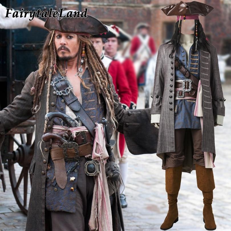 Пираты Карибского моря Капитан Джек Воробей косплей костюм Хэллоуин костюмы для взрослых мужчин Воробей Костюм на заказ костюмы