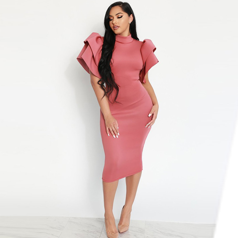 Fashion Women Sexy Backless Butterfly Sleeve Party Dress Elegant Hip Wrapped Pink Midi Dress Turtleneck Pencil Bodycon Dress