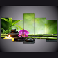 HD 5 Pieces Canvas Paintings Printed Stone Flower Zen Painting Wall Art Canvas For Living Room