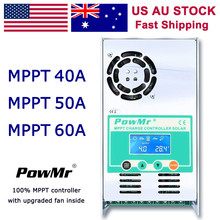 PowMr 60A 50A 40A MPPT Solar Charge Controllers 12V 24V 36V 48V Auto 190V PV LCD Display Lead Acid Lithium Battery Regulator 40a 50a 60a intelligent pwm solar panel regulator charge controller with lcd display 12v 24v 48v auto detect