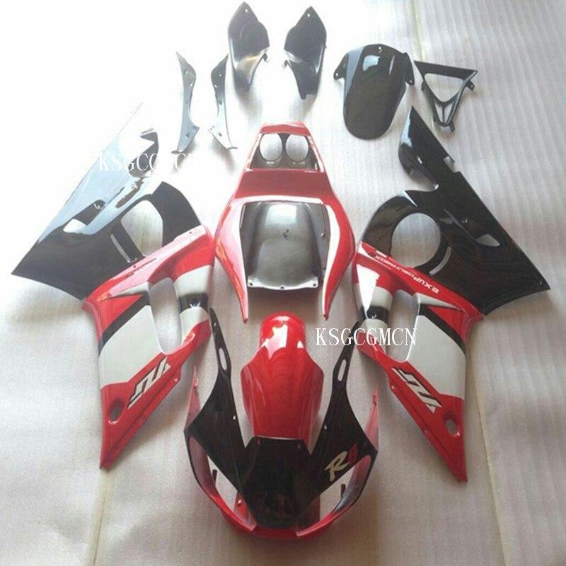 Kit de carénage MOTO complet pour Yamaha YZF-R6 98 99 00 01 02 ensemble de carénages rouge blanc noir YZF R6 1998-2002