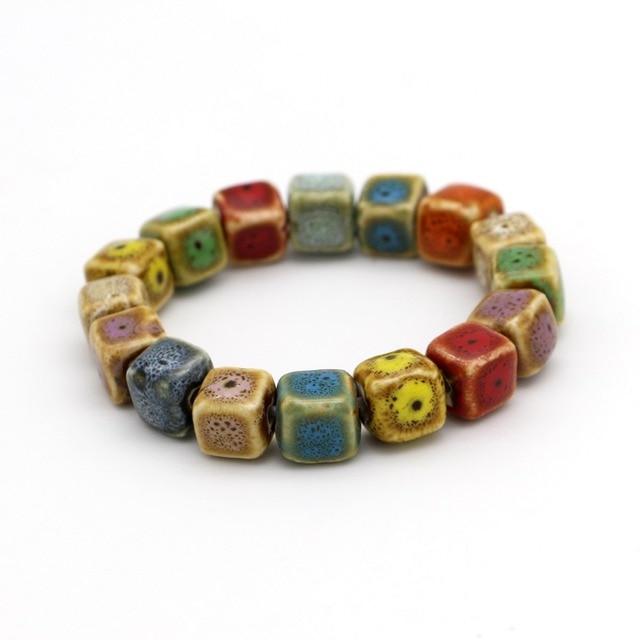 Hot Sale Heart Shaped vintage beads lady bracelet Bohemia Ceramic stone charm women Bangles fashion christmas gift free shipping
