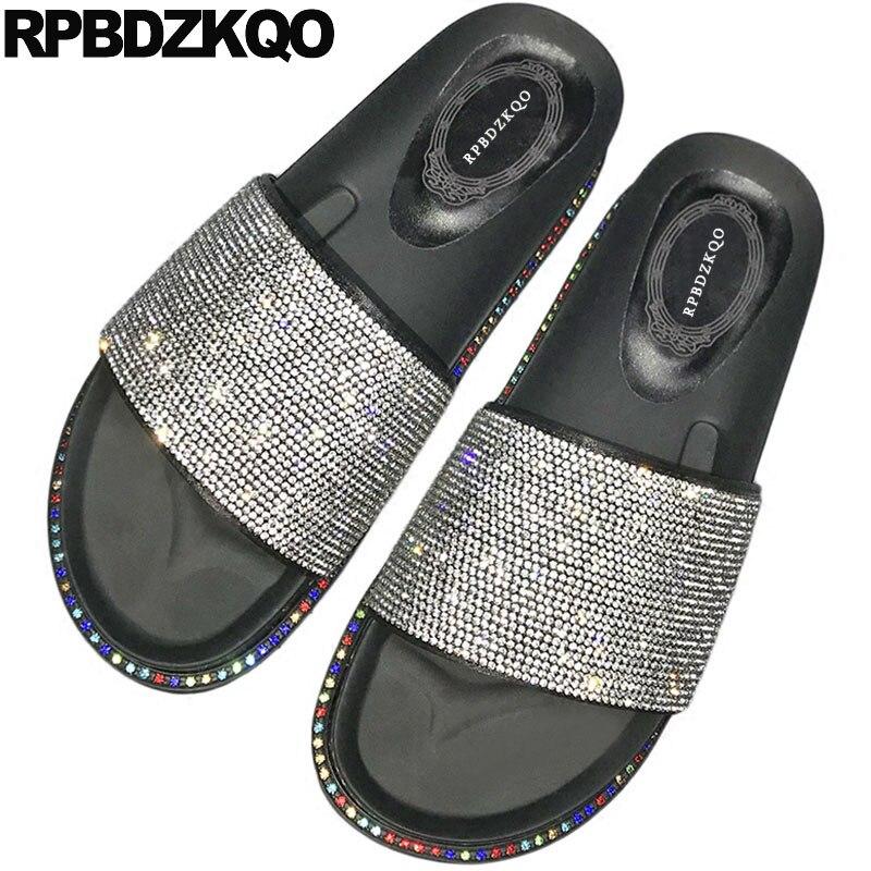 цена на Slippers Bling Shoes Summer Slides Crystal Wide Fit Women Wedge Platform Sandals Comfortable Diamond Flatform Slip On Rhinestone