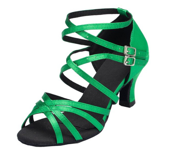 Borong Ladies Girls Green Satin Ballroom Latin Samba Salsa Ceroc Tango Dance Shoes All Size