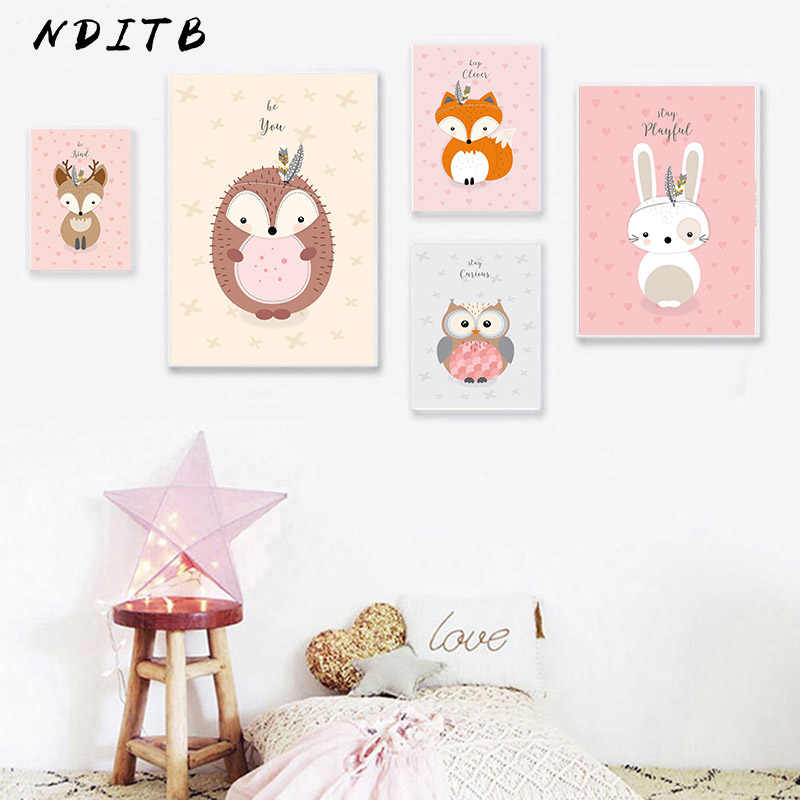 Woodland Animal Canvas Art Nursery Poster Owl Rabbit Fox Print Wall Painting Nordic Kid Decoration Picture Baby Bedroom Decor