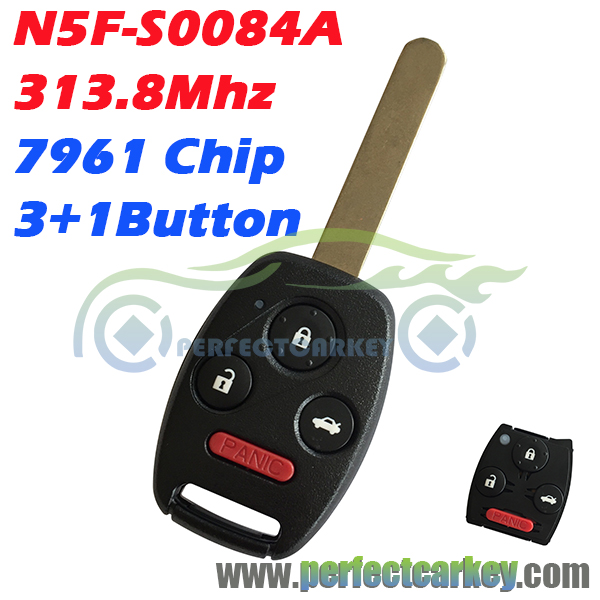 Prix pour N5f-s0084a 313.8 mhz 7961 électrique puce 3 + 1 bouton lame hon66 contrôle de clé de voiture auto chef touches de la télécommande pour honda civic 2006-2011