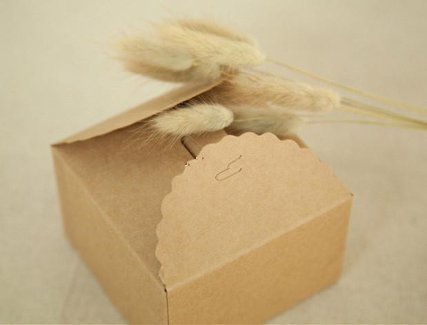 100 pièces/lot-9*9*5 cm, 12*12*6 cm Mini S blanc Kraft papier boîtes de rangement bricolage fête cadeau boîte biscuits Snack bonbons boîte cuisson paquet