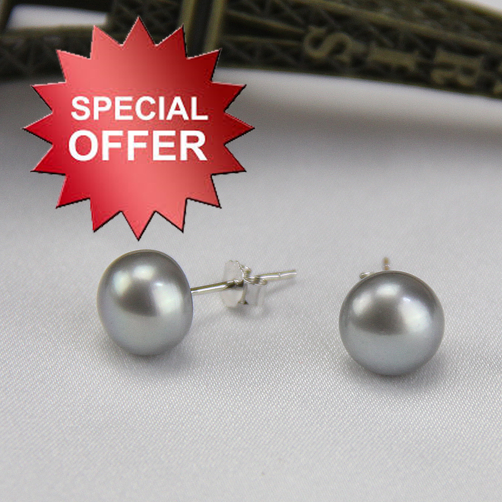 Women Grey Pearl Earring Stud, Genuine Pearl Studs With Dyed Gray Color  Natural Cultured Freshwater