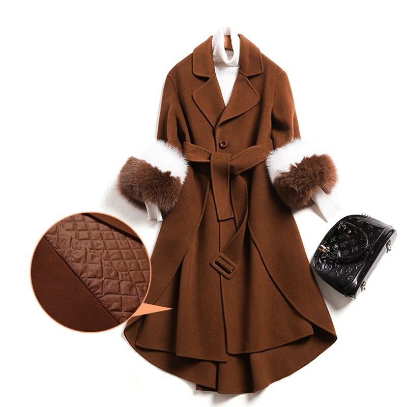 Длинное шерстяное пальто женское кашемировое пальто на зиму воротник из искусственного лисьего меха шерстяная куртка с регулируемой талией тонкое женское длинное пальто