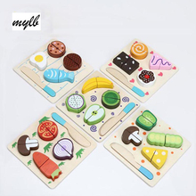 mylb Wooden Toy Kitchen Cut Fruits Vegetables Dessert Kids Cooking Kitchen Toy Food Pretend Play Puzzle Educational Toys(China)