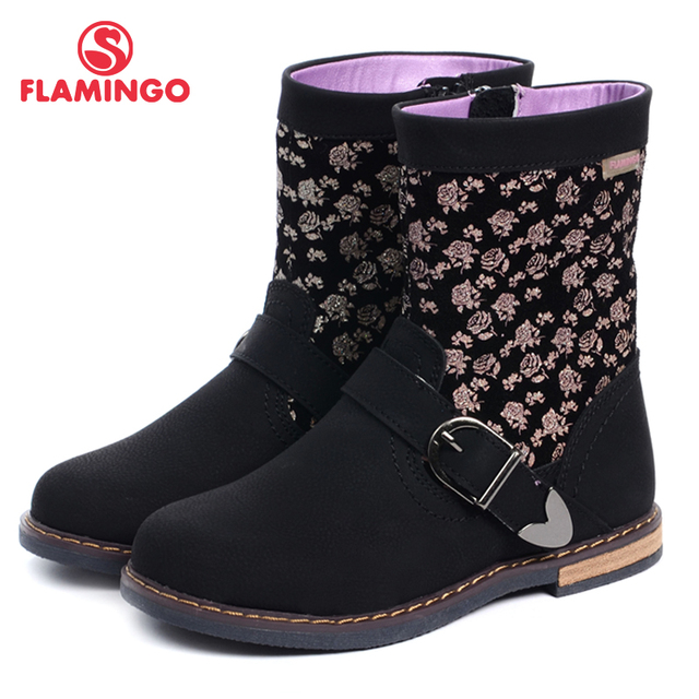 FLAMINGO 2016 new collection brand high quality autumn/ winter black children's shoes for girls anti-slip fashion boots W6XY191