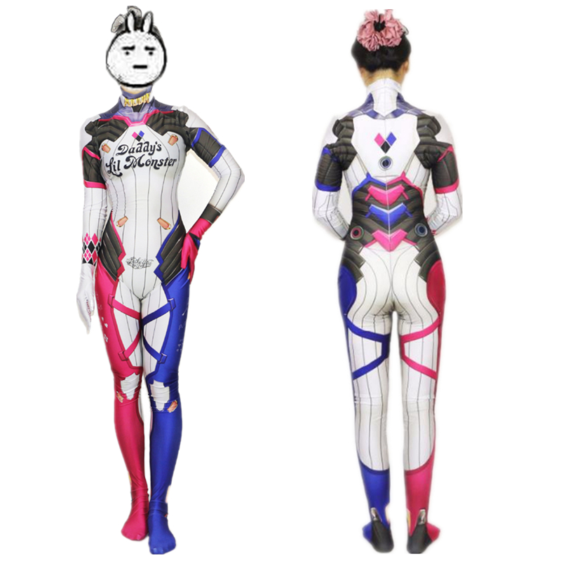 Harley Quinn Suicide Squad D VA Skin Cosplay Costume Zentai Superhero Bodysuit Suit Jumpsuits