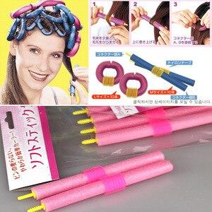 Lote de 12pac de varillas de espuma flexible para cabello con giro en espiral y rizado, juego de rodillos rizadores de giro flexible-35