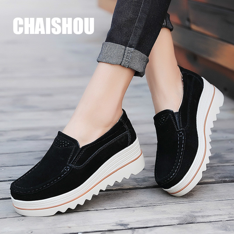 shoes women platform   leather     suede   plush slip on sneakers chaussure femme tassel fringe loafers moccasins women's shoes CS-338