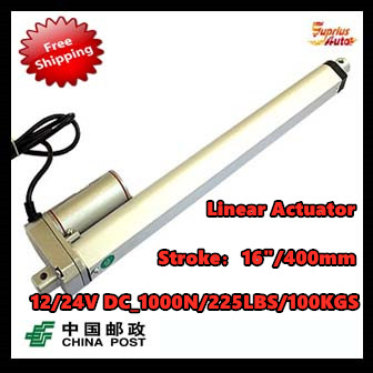 12v/24v DC  linear actuator, 16inch/400mm stroke, 1000N/100kgs/225lbs load electric linear actuator Free Shipping By China Post12v/24v DC  linear actuator, 16inch/400mm stroke, 1000N/100kgs/225lbs load electric linear actuator Free Shipping By China Post