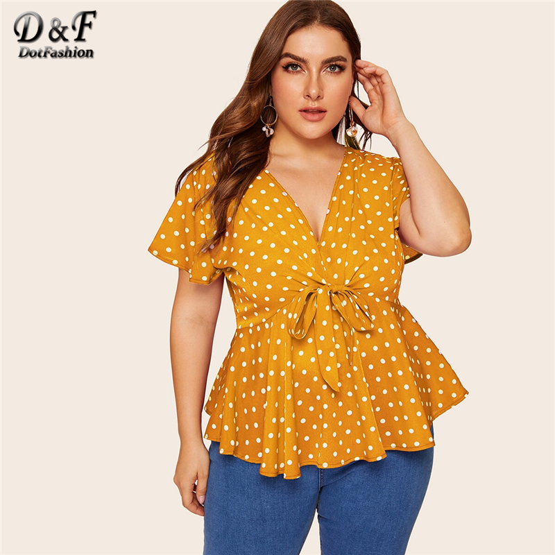 Dotfashion Plus Size Polka Dot Knot Front Blouse Women 2019 Summer Boho Deep V Neck Short Sleeve Clothing Ladies Fashion Tops-in Blouses & Shirts from Women's Clothing on AliExpress - 11.11_Double 11_Singles' Day 1