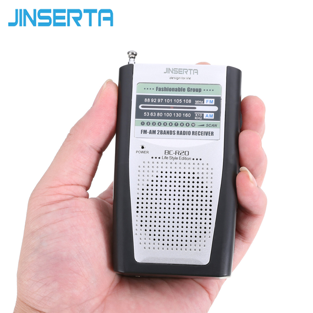 JINSERTA Pocket Multi-Function Radio Stereo Radio FM/AM Radio Receiver Mini Speaker Radio Music Player BC-R20 5pcs pocket radio 9k portable dsp fm mw sw receiver emergency radio digital alarm clock automatic search radio station y4408