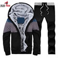 Men Tracksuit autumn Winter Casual Hooded Tracksuit Set Male Thick fleece Slim fitness Hoodie 2pcs Sets jacket+pant size M~4XL