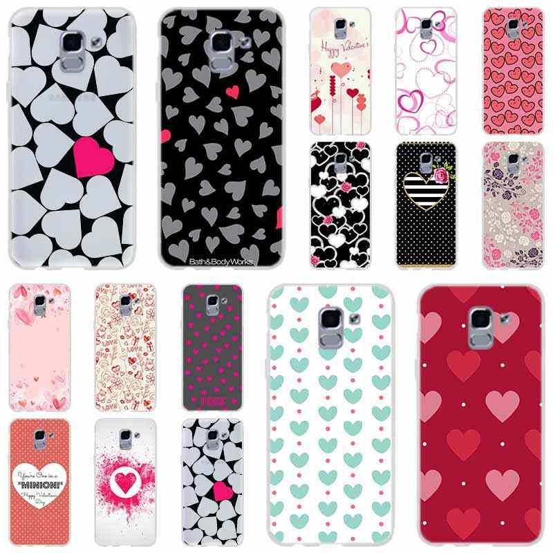 Dot flor do coração do amor Para A Caixa Do Telefone Samsung Galaxy j6 J8 J7 J5 J3 J4 Plus 2018 2017 2016 J610 prime Soft Silicone Coque