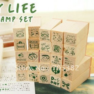 25pcs/set Happy life wooden stamp set Wooden rubber stamp box Decorative DIY zakka school supplies(ss-217) цена