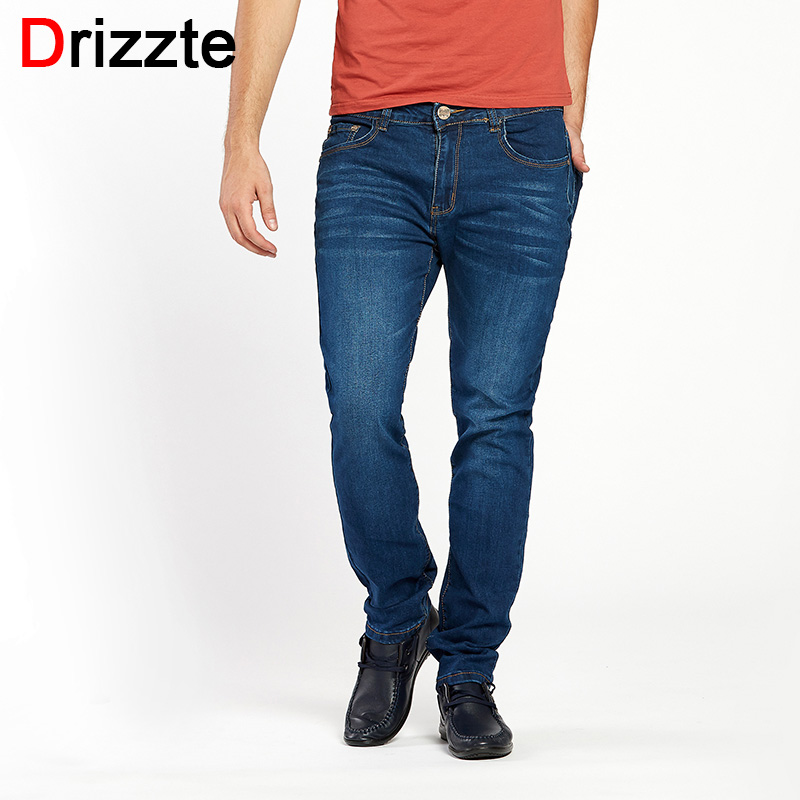 Drizzte Brand Mens Stretch Jeans Comfortable Blue Denim Jean Slim Pants Trousers For Men Plus Size 33 34 35 36 38 40 42 44 drizzte men s jeans classic stretch blue denim business dress straight slim jeans size 34 35 36 38 pants trousers jean for men