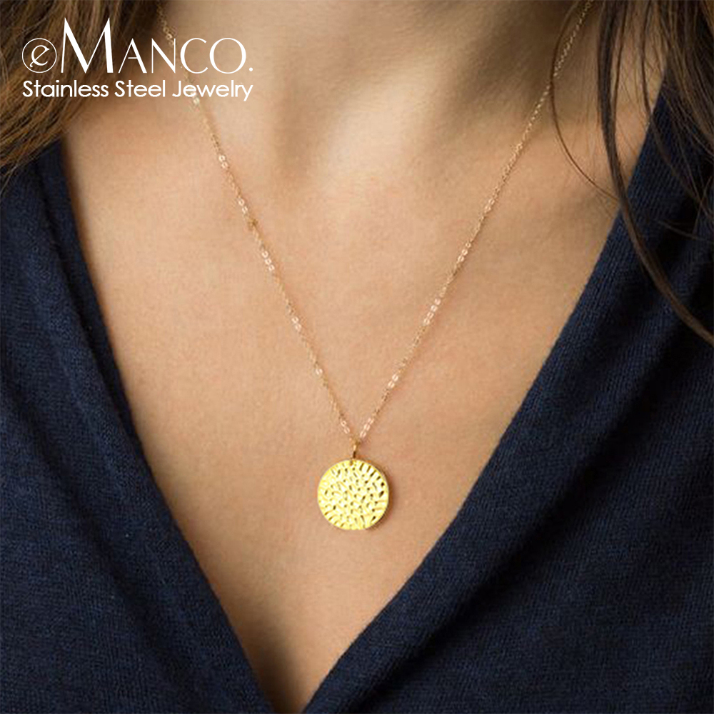 E-Manco Simple Stainless Steel Necklace Women Round Coin Pendant Necklace Trendy Chokers Necklaces For Women Necklaces Jewelry