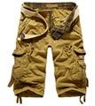 2015 Nuevos hombres del Verano 3/4 Cargo shorts Multi del Bolsillo Flojo Ocasional Militar Shorts Pantalones Tamaño Grande 29-38 envío Gratis