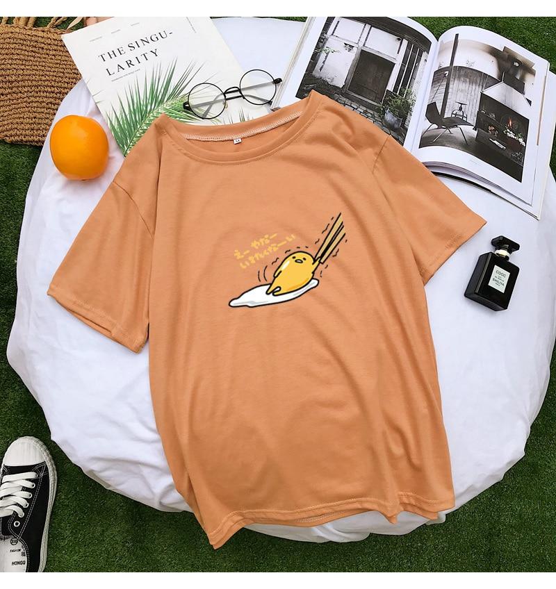 New T Shirt Women Kawaii Cartoon Gudetama Print Tops Tee Harajuku Summer Short Sleeve Casual Loose Korean Clothes Camiseta Mujer (10)