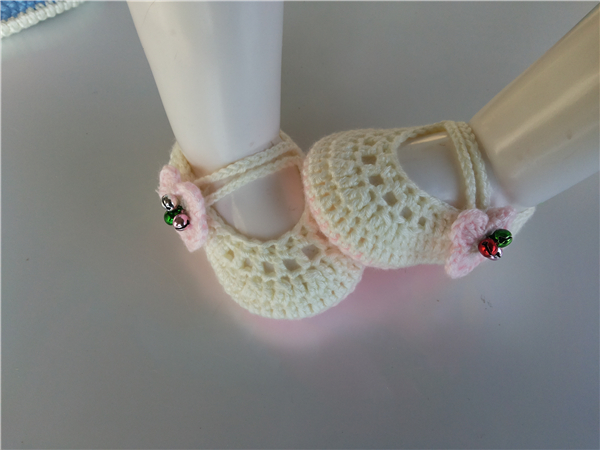 Crochet Knitt Booties With Pink Flower Handmade Baby Socks Infant Bell Newborn Shoes/Toddler Shoes 0-12M Customize