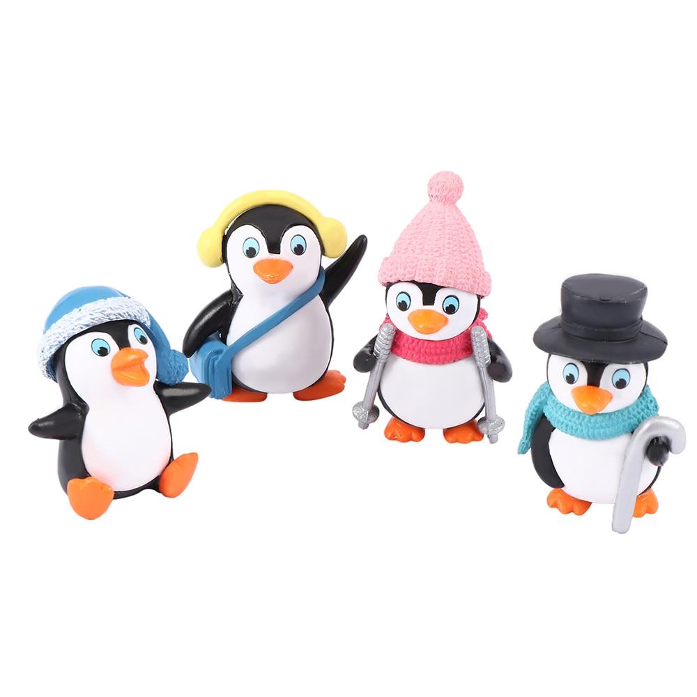 4pcs/set DIY Mini Winter Penguin Toy Miniature Figurine For Children Gift Birthday Decoration