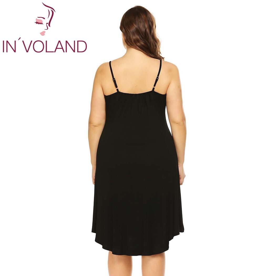 IN'VOLAND Women Sleepwear Dress Nightgowns Plus Size XL-5XL Adjustable Spaghetti Strap Cami Sleep Dresses Sleepshirts Oversized 4
