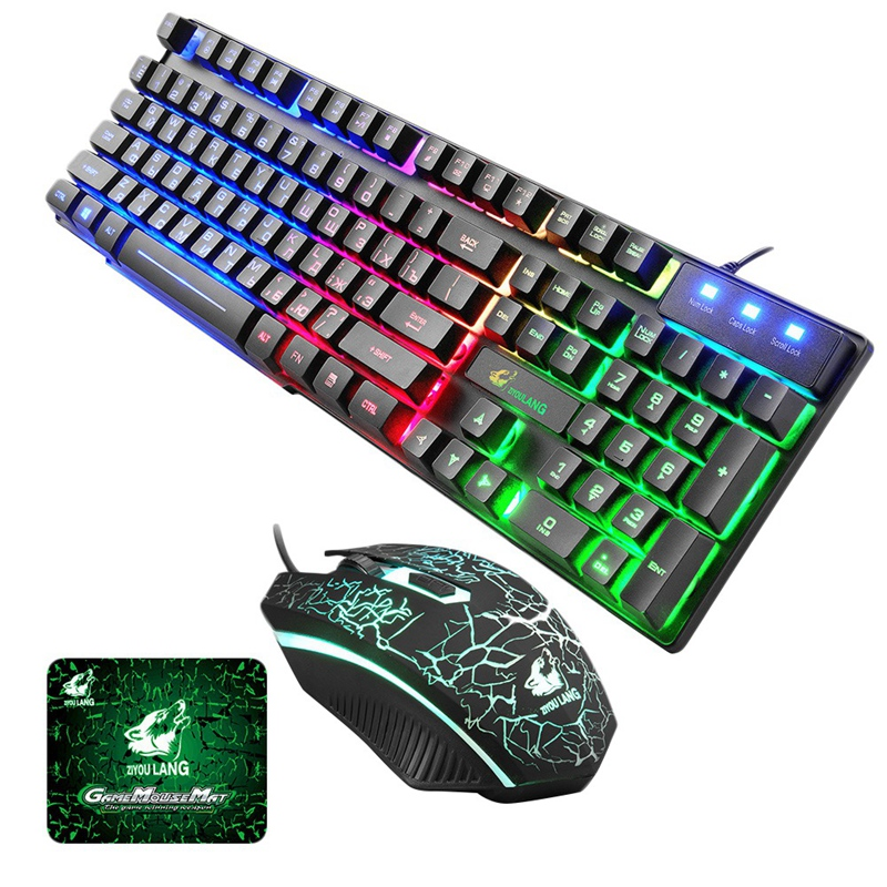 ZIYOU LANG Gaming Russian Keyboard And Mouse Set T5 Wired Led Rainbow Backlight Usb Ergonomic Colorful For Pc Laptop For Table