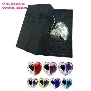 7 Colors Metal  Crystal heart pendrive 4GB 8GB 16GB 32GB 64G Diamond Heart USB 2.0 Flash Drive Memory Stick with a nice Gift Box