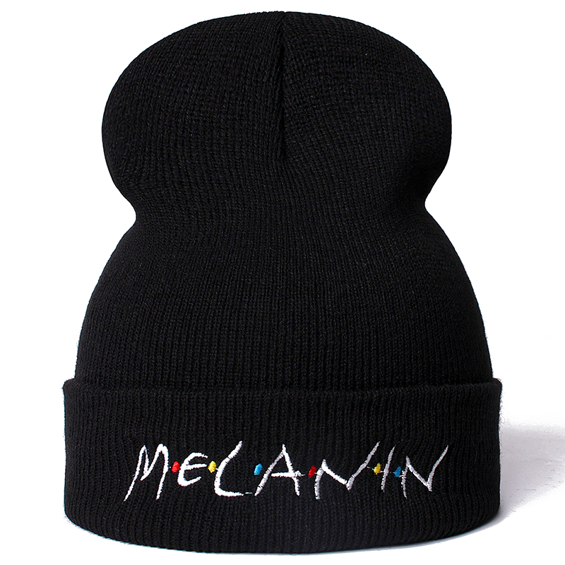 High Quality Letter Melanin Casual Beanies For Men Women Fashion Knitted Winter Hat Hip-hop Skullies Hat Dropshipping