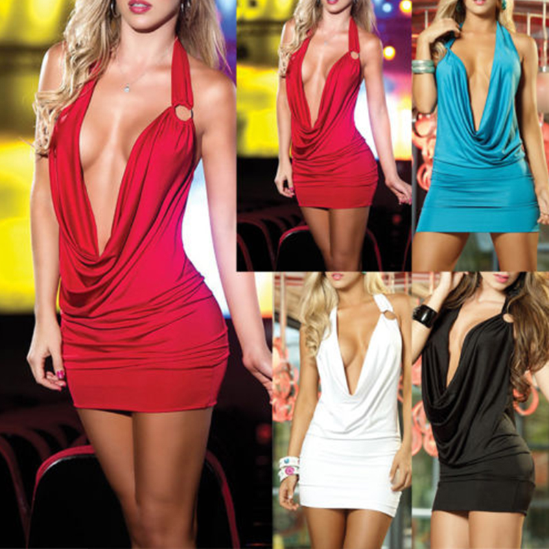 Women <font><b>Sexy</b></font> <font><b>Deep</b></font> <font><b>V</b></font>-Neck Bandage Bodycon Party Cocktail Club <font><b>Dress</b></font> image