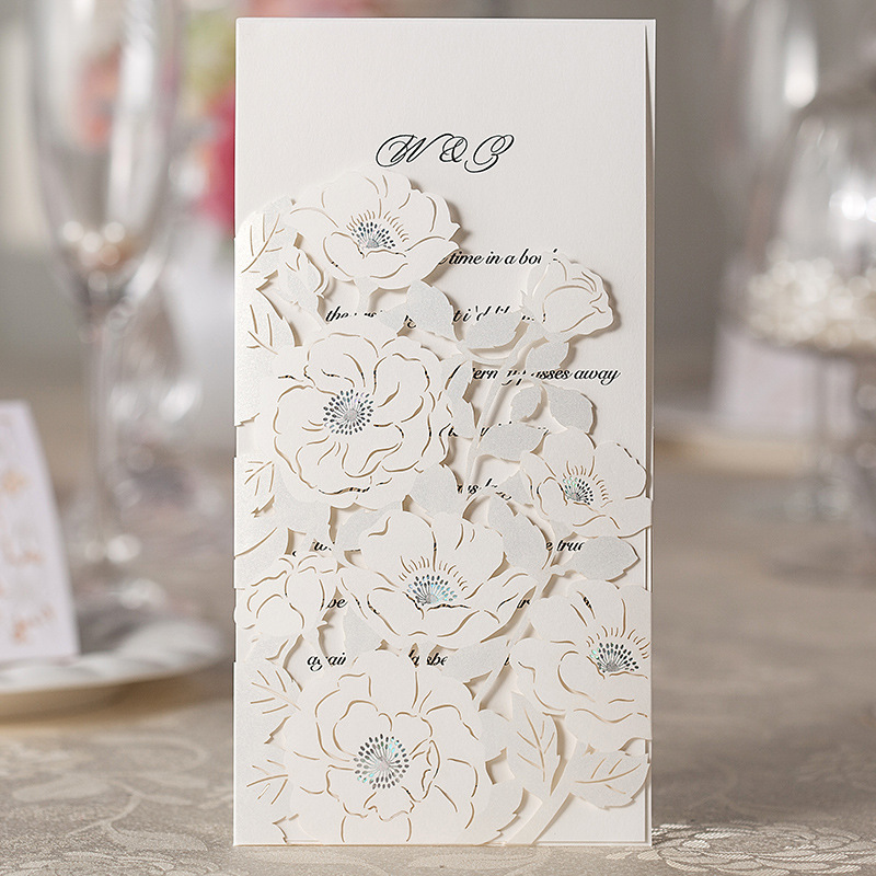 100 Piece Flora Laser Cutting Invitation Card With Flower ,White ...