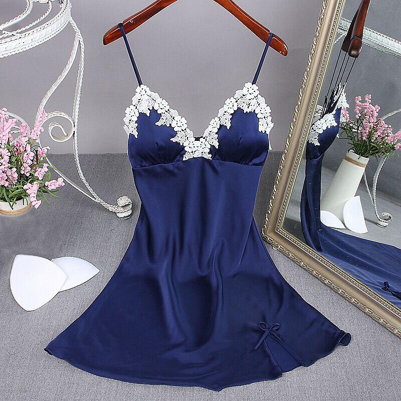 Lady Sexy Nightgown Summer Women's Lingerie Robe Bath Gown Faux Silk Sleepwear Nightdress Pajamas Homewear Chest Pad Nightwear