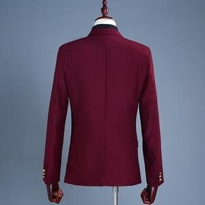 Image 2 - PYJTRL ブランドワイン赤新郎タキシードウェディング歌手スーツダブルブレストスリムフィットスーツウエディングドレスファッションカジュアルスーツ男性