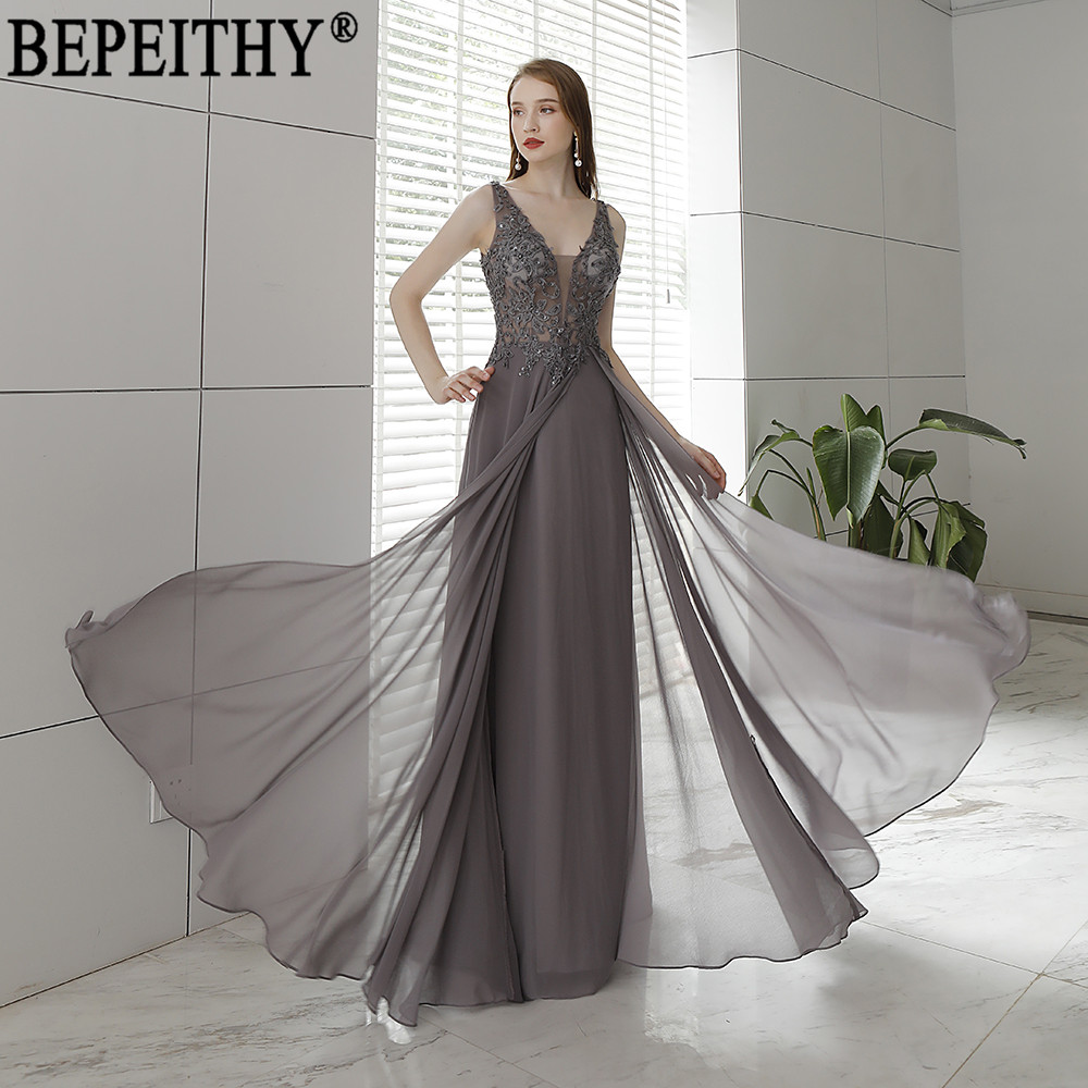 BEPEITHY Vestido De Festa New Design V Neck Appliques Beads Long Elegant Dress Evening Dresses 2019