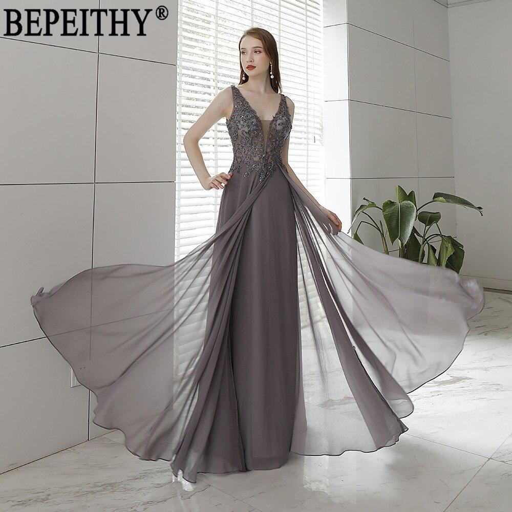 BEPEITHY Vestido De Festa New Design V Neck Appliques Beads Long Elegant   Dress     Evening     Dresses   2018