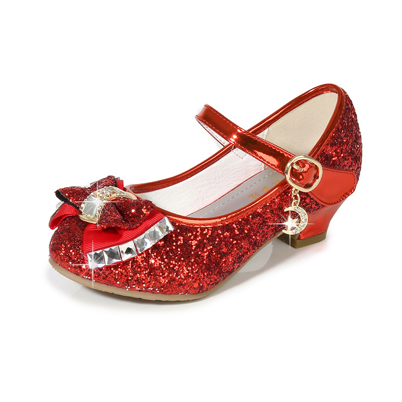 Allwesome Kid Leather Shoes Princess Girls Flower Glitter Sequin Baby High Heel Shoes Butterfly Knot Red Chaussure Fille Mariage in Leather Shoes from Mother Kids