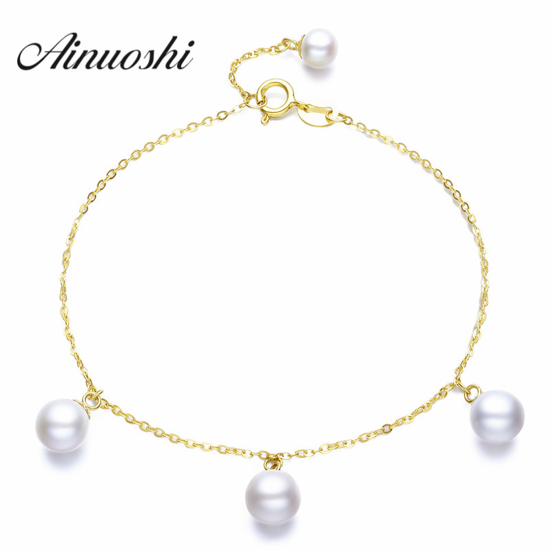 все цены на AINUOSHI 18K Yellow Gold Natural Cultured Freshwater Pearl Bracelet Wholesale Real Pearl Gold Bracelet for Women Party Jewelry онлайн
